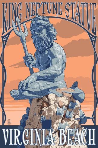 Virginia Beach, Virginia - King Neptune Statue Art Print