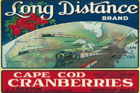 Wareham, Massachusetts, Long Distance Brand Cape Cod Cranberry Label Muovikyltit