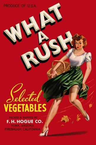 What a Rush - Vegetable Crate Label Art Print