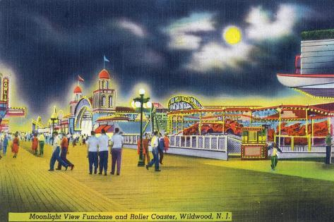 Wildwood-by-the-Sea, New Jersey - Funchase and Roller Coaster in the Moonlight Art Print