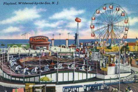 Wildwood-by-the-Sea, New Jersey - View of Playland Amusement Park Art Print