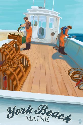 York Beach, Maine - Lobster Boat Art Print