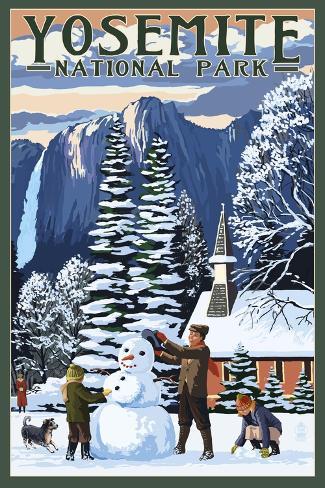 Yosemite Chapel and Snowman - Yosemite National Park, California Art Print