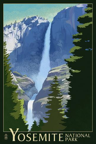 Yosemite Falls - Yosemite National Park, California Lithography Art Print