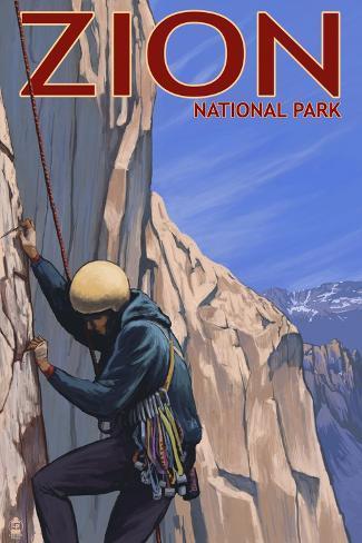 Zion National Park, UT - Climber Art Print