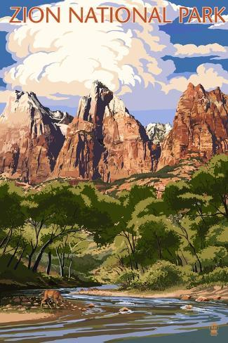 Zion National Park - Virgin River and Peaks Art Print
