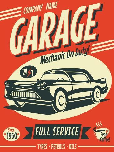 Retro Car Service Sign. Vector Illustration. Stampa artistica