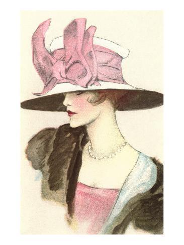 Large Hat with Pink Bow Art Print