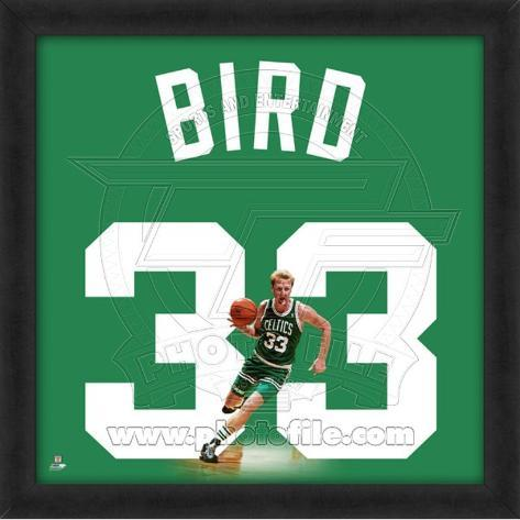 Larry Bird, Celtics photographic representation of the player's jersey Framed Memorabilia