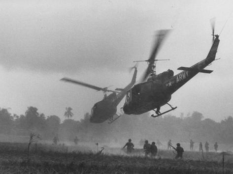 US Helicopters Carrying South Vietnamese Troops in Raid on Viet Cong Positions Photographic Print