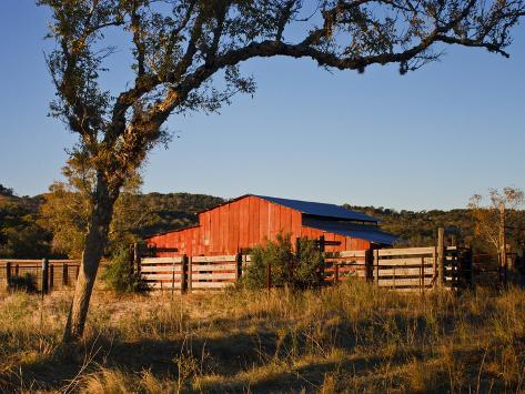 Red Barn at Sunrise on the Block Creek Natural Area, Kendall Co., Texas, Usa Photographic Print
