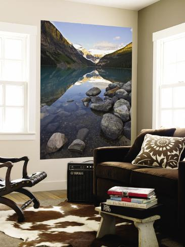 Rocky Mountains and Boulders Reflected in Lake Louise, Banff National Park, Alberta, Canada Wall Mural