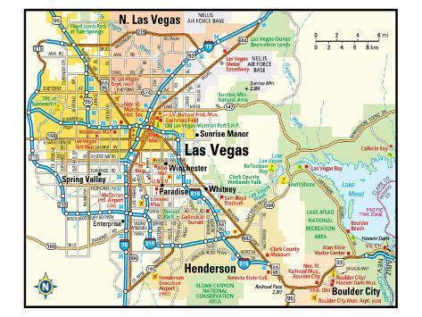 Las Vegas Nevada Area Map Art - AllPosters.co.uk