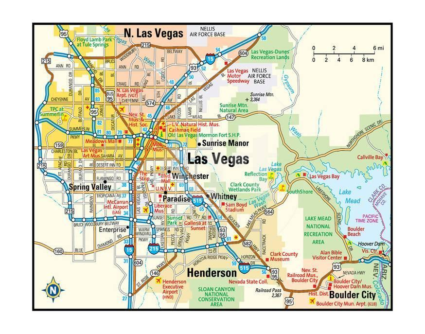 Las Vegas Nevada Area Map Posters at AllPosters.com