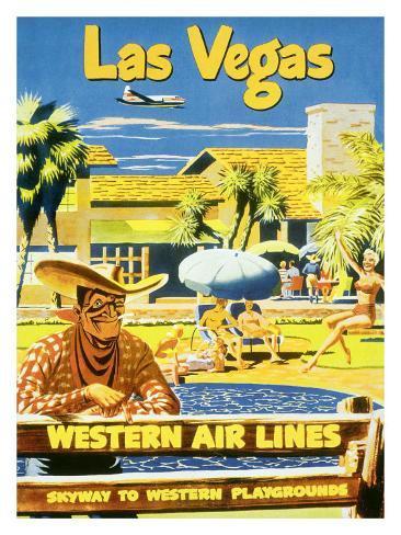 Las Vegas, Western Airlines Giclee Print