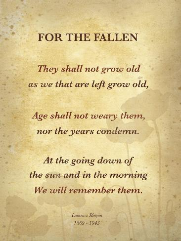Ode Of Remembrance Art By Laurence Binyon At Allposters