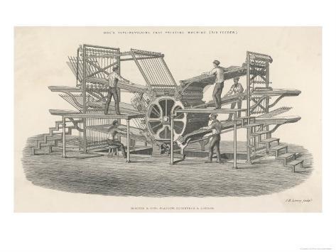 Hoe's Six Feeder Type Revolving Fast Printing Machine Giclee Print