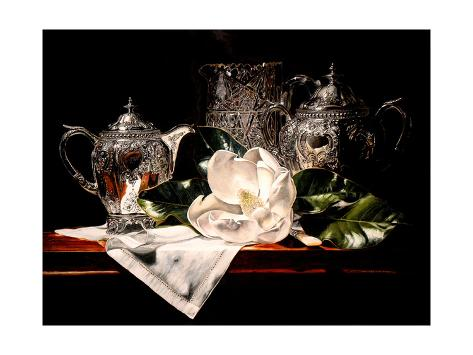 Crystal and Silver W Magnolia Giclee Print