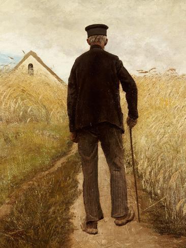 Old Man Walking in a Rye Field Giclee Print