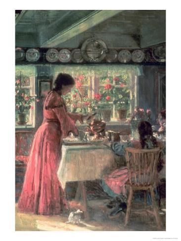 The Coffee is Poured - the Artist's Wife with Their 2 Daughters Giclee Print