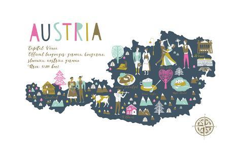 Cartoon Map of Austria with Legend Icons Art Print