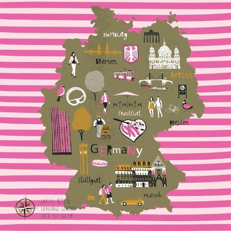 Cartoon Map of Germany with Legend Icons Art Print