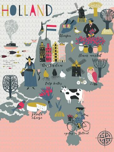 Cartoon Map of Holland with Legend Icons Art Print
