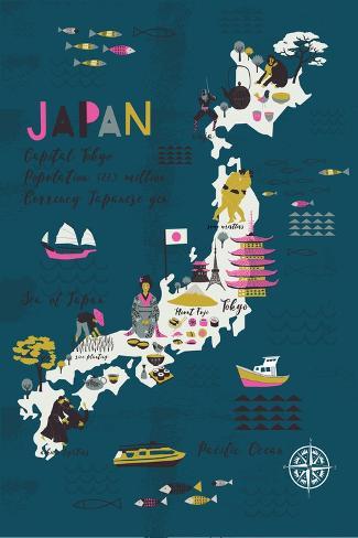 Cartoon Map of Japan. Print Design Art Print