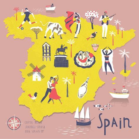 Cartoon Map of Spain with Legend Icons Art Print