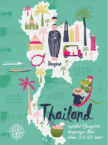 Cartoon Map of Thailand. Print Design Art Print