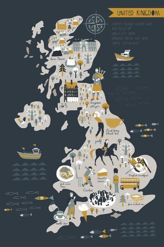 Cartoon Map of United Kingdom with Legend Icons Art Print