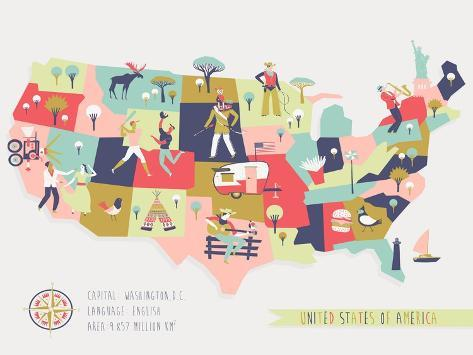 Cartoon Map of USA with Legend Icons Art Print