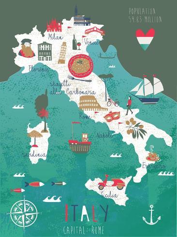Italy Map Print Design Art Print