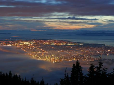 City from Grouse Mountain at Sunset, North Vancouver, Vancouver, Canada Photographic Print