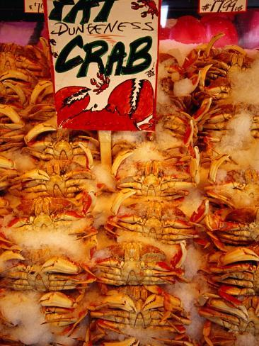 Crabs for Sale at Pike Place Market, Seattle, Washington, USA Photographic Print