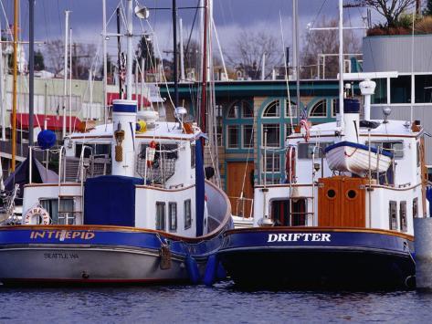 Lake Union Boats at Dock, Seattle, Washington, USA Photographic Print