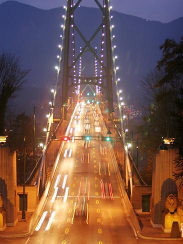 Lion's Gate Bridge Early Evening, Stanley Park, Vancouver, Canada Photographic Print