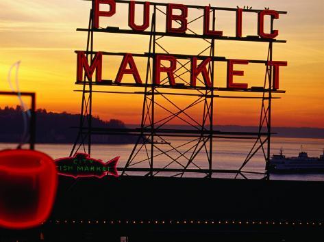Pike Place Market Sign, Seattle, Washington, USA Photographic Print