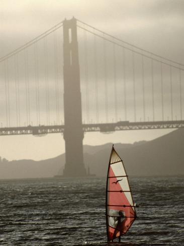 Windsurfer Sails Through Waters on San Francisco Bay, San Francisco, California, USA Photographic Print