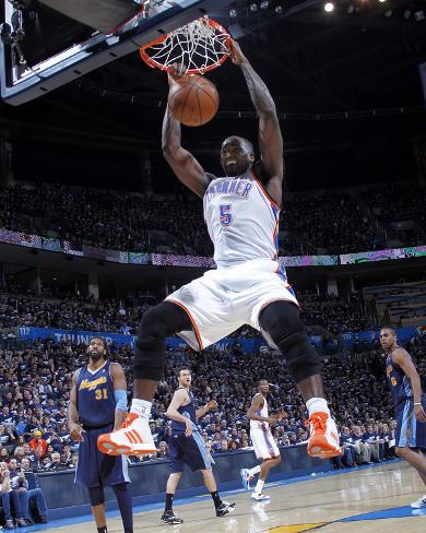 Denver Nuggets v Oklahoma City Thunder - Game Five, Oklahoma City, OK - APRIL 27: Kendrick Perkins Photo