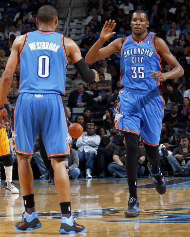 Oklahoma City Thunder v New Orleans Hornets: Kevin Durant and Russell Westbrook Photo