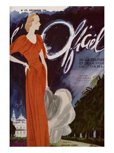 L'Officiel, December 1935 - Madeleine Vionnet Art Print