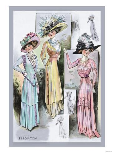 Le Bon Ton: A Trio in Pastels and Hats Art Print