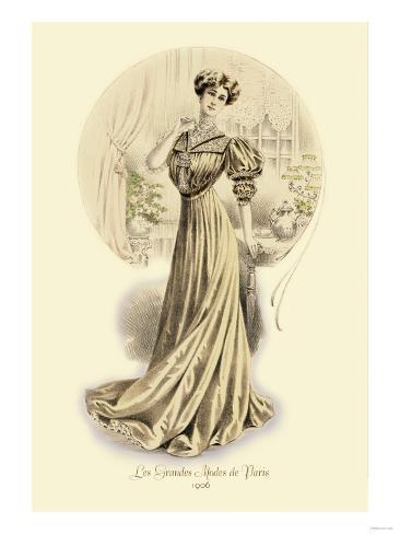 Le Grandes Modes de Paris: Golden Gown Stampa artistica