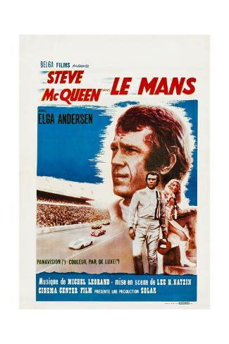 Le Mans, French Poster, Steve Mcqueen, Elga Andersen, 1971 Gicléetryck