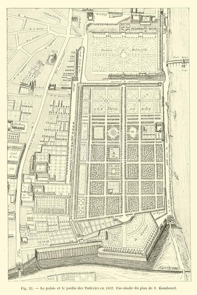 Le Palais Et Le Jardin Des Tuileries En 1632 Fac Simile Du Plan