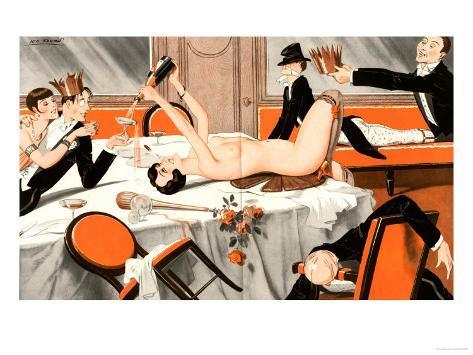 Le Sourire, Erotica Drunks Orgies Champagne Party Magazine, France, 1920 Lámina giclée
