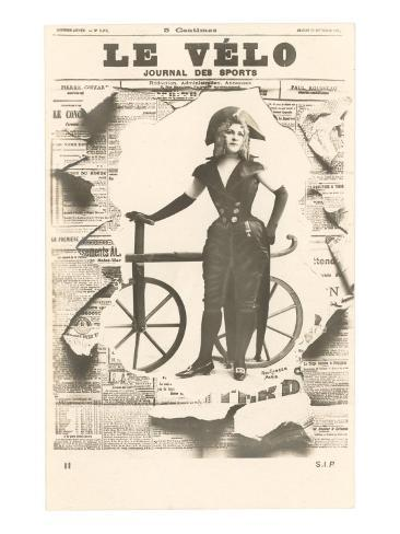 Le Velo, Girl with Wooden Bicycle Art Print