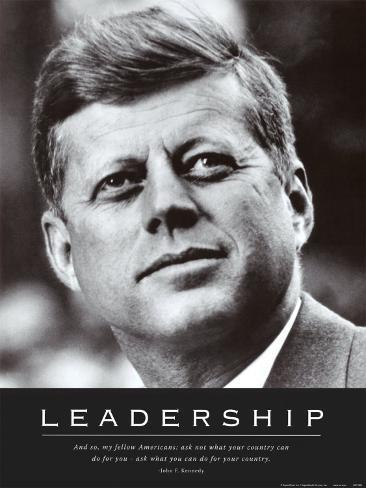 Leadership: JFK Mounted Print