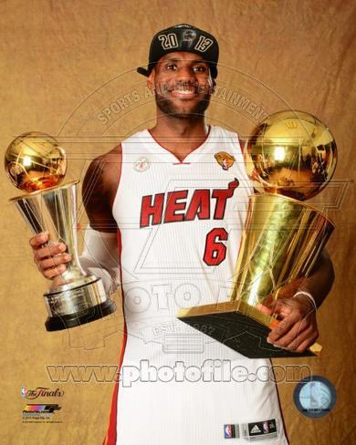 493a6774c98 LeBron James with the NBA Championship   MVP Trophies Game 7 of the 2013  NBA Finals Photo at AllPosters.com